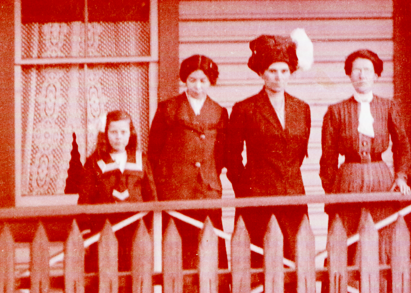 Three women and girl on porch - The girl is probably Helen and Second from right, Kathleen
